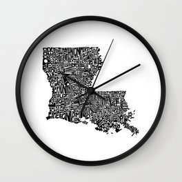 Typographic Louisiana Wall Clock