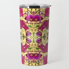 DESIGN OF PINK & RED HOLLYHOCKS YELLOW GARDEN Travel Mug
