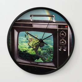 Tune in for more adventure, vintage collage with diving lady Wall Clock