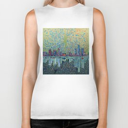 detroit city skyline Biker Tank