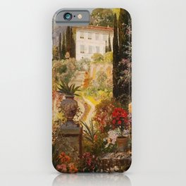 Amalfi Coast Campania, Italy Garden Terrace Vineyard and Flowers landscape seaside painting iPhone Case