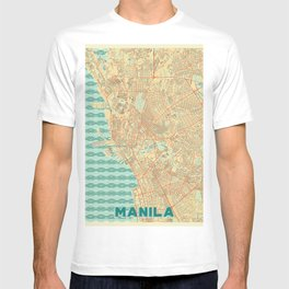 Manila Map Retro T-shirt