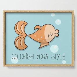 Yoga comic fun draw with goldfish Serving Tray