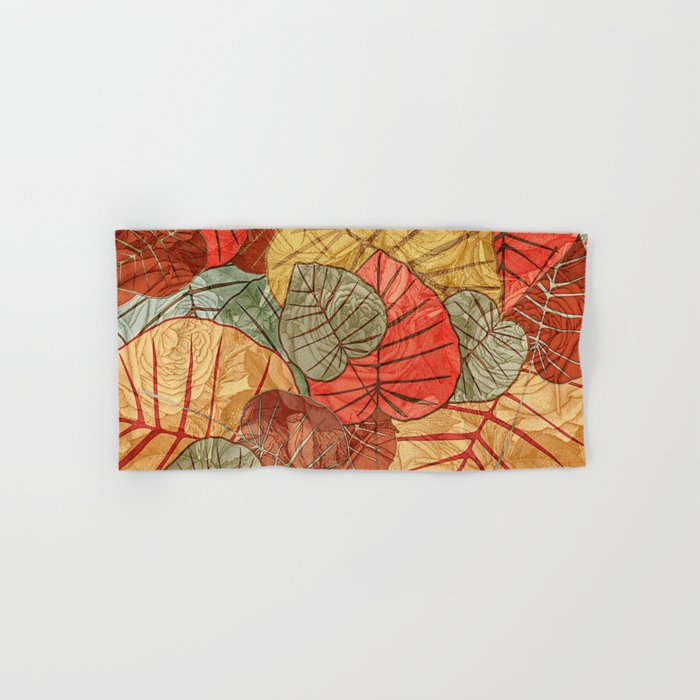 Leaves in Rosy Background 4 Hand & Bath Towel