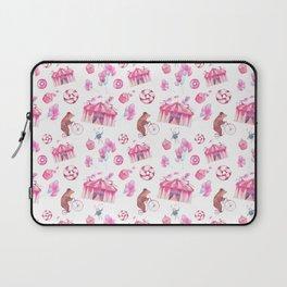 Sweet girly pink watercolor bear funfair pattern Laptop Sleeve