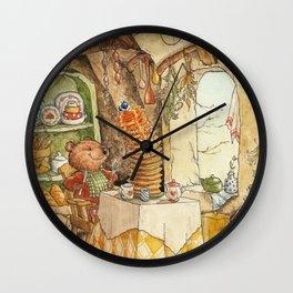 Boone Bear And His Pancakes Wall Clock