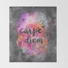 Carpe diem colorful watercolor handlettering Throw Blanket