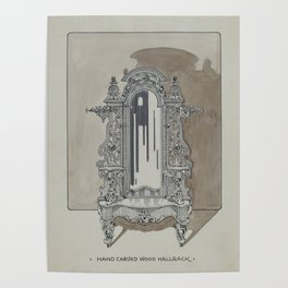 Carved Walnut Hall Rack Vintage Architecture Poster
