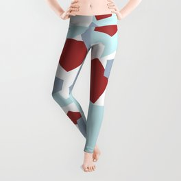 Geometric Mix Rectangle red Leggings