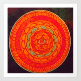 Orange Mandella Art Print