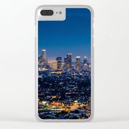 Los Angeles, California, I love LA Downtown Skyline, Golden lights, USA Sunset Blvd, Palms, Cali Map Clear iPhone Case