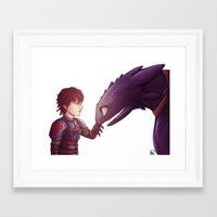 hiccup Framed Art Prints featuring Hiccup & Toothless by MaliceZ