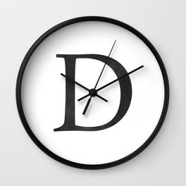 Letter D Initial Monogram Black and White Wall Clock