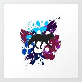 Splattered Paint Wolf Art Print