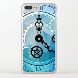 Blue Clock Clear iPhone Case