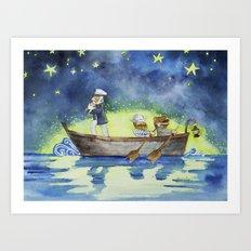 Night on the sea Art Print