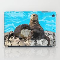 otters iPad Cases featuring Where the River Meets the Sea Otters by Distortion Art