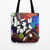 sports Tote Bags featuring Sports Fans by Jake Dorr