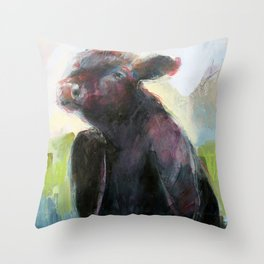 Wise Bull Throw Pillow