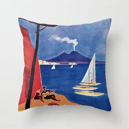 Napels Italy retro vintage travel ad Throw Pillow
