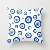 evil eye Throw Pillows featuring Evil Eye by Stephania Silveira