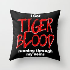 Tiger Blood on black Throw Pillow