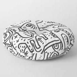 Soul Power Black and White Graffiti Street Art  Floor Pillow