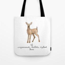 MBTI Spirit Animal Deer INFJ Cute Kawaii Watercolor Print Tote Bag