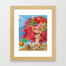 Happy Summer Girl Framed Art Print