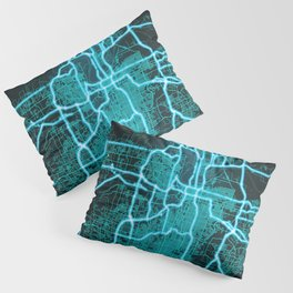 Kansas City, MO, USA, Blue, White, Neon, Glow, City, Map Pillow Sham