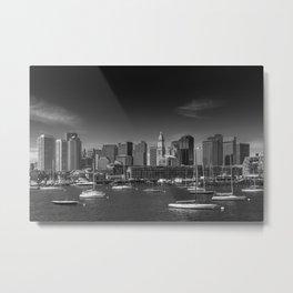 BOSTON Skyline North End & Financial District | Monochrome Metal Print