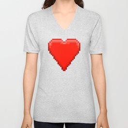 Retro Video Game Heart Pixel Art Unisex V-Neck