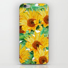 sunflower pattern iPhone Skin