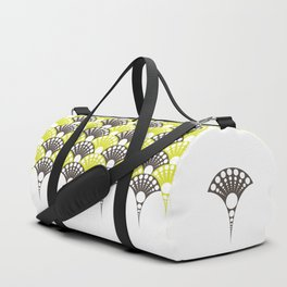 brown and lime art deco inspired fan pattern Duffle Bag