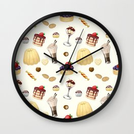 Sweet pattern with various desserts. Wall Clock
