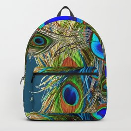 BLUE-GREEN PEACOCK EYE  FEATHERS BLUISH DESIGN Backpack