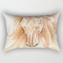 Golden Lusitano Stallion Study In Watercolor Rectangular Pillow