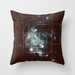 Galaxy Sacred Geometry: Golden Mean dark Throw Pillow