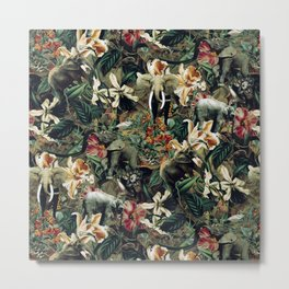 Elephants Camouflage Metal Print