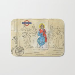 Jesus on the Tube, He is among us Bath Mat