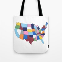 usa Tote Bags featuring USA by Project M