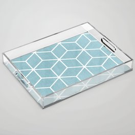 Light Blue and White - Geometric Textured Cube Design Acrylic Tray