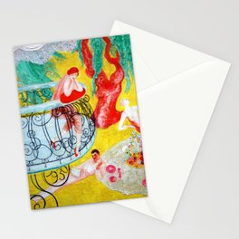 'Love Flight of a Pink Candy Heart' landscape painting by Florine Stettheimer Stationery Cards