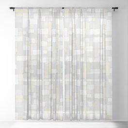 Minimalist Simplicity Pattern Gray + Soft Creamy Yellow Sheer Curtain