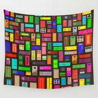 doors Wall Tapestries featuring Doors - Black by Finlay McNevin