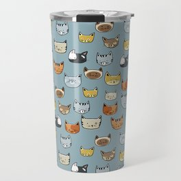 Cat Face Doodle Pattern Travel Mug