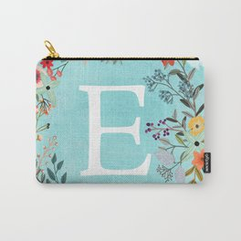 Personalized Monogram Initial Letter E Blue Watercolor Flower Wreath Artwork Carry-All Pouch