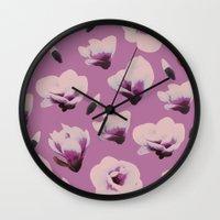 magnolia Wall Clocks featuring Magnolia by Georgiana Paraschiv