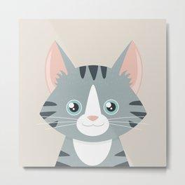 Grey Tabby Cat Metal Print