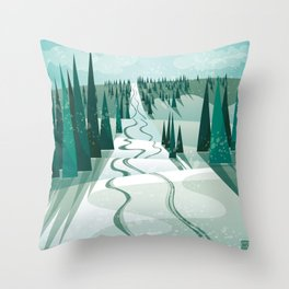 Winter Slope Throw Pillow